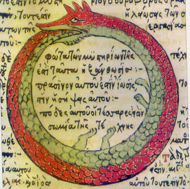 an image of a sad and cute fox-like ouroboros eating its own tail