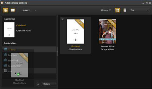 Screen shot of clicking and dragging the book to your Nook in the ADE Library menu