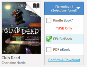 A screenshot of selecting the EPUB eBook option from the Download menu in your Bookshelf